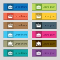 Open icon sign set of twelve rectangular colorful vector