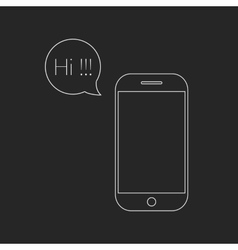 white outline smartphone and speech bubble with hi vector image