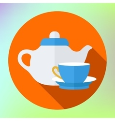 Teapot cup icon kettle tea vector