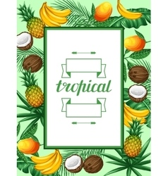 Frame with tropical fruits and leaves design for vector