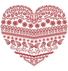 Zentangle heart in red vector