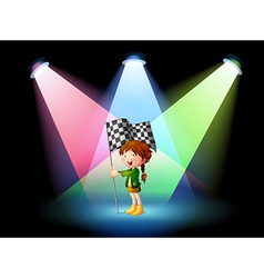 A girl holding a banner with spotlights vector image