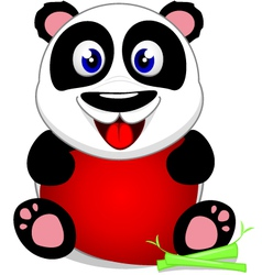 Baby panda with heart vector