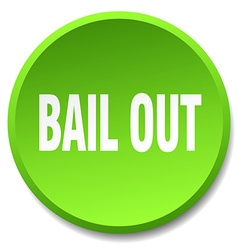 Bail out green round flat isolated push button vector
