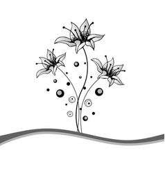 Beautiful black and white floral frame vector