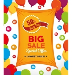 Big sale special offer buy now banner and balloons vector