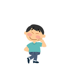 cartoon character of a shy asian boy vector image