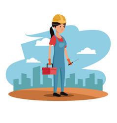 Character woman employee worker construction vector