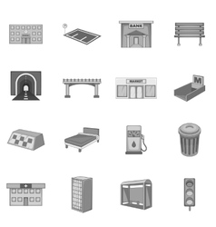 City infrastructure icons set monochrome style vector