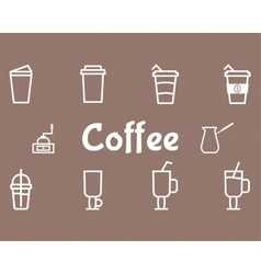 Coffee Line Icons Set vector image vector image