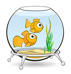 Couple goldfish in an aquarium with caviar vector