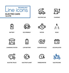 Electro cars - line design icons set vector