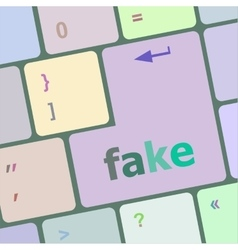Fake button on computer pc keyboard key vector