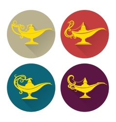 Flat aladdin lamp icons set vector