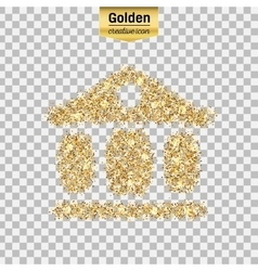 Gold glitter icon of exchange building vector