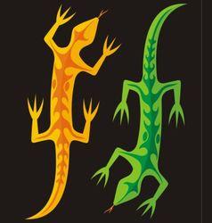 green and orange lizards vector image vector image