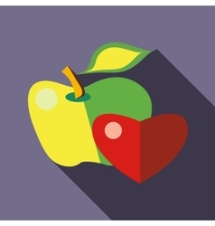 Green and yellow apple with red heart icon vector