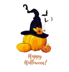 Happy halloween text greeting card with witch vector