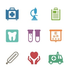 Health care medical items Flat style icons vector image vector image