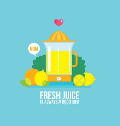 Juicer fresh vegetables greens and fruits colorful vector