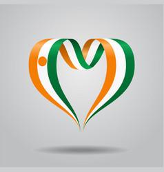 niger flag heart-shaped ribbon vector image vector image
