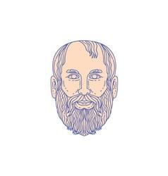 Plato greek philosopher head mono line vector