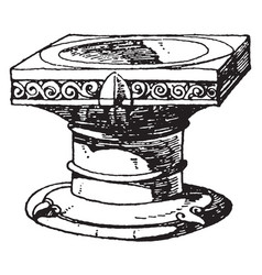 Romanesque stoup is used to hold holy water vector