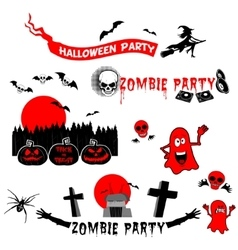 Set of halloween party labels badges and design vector