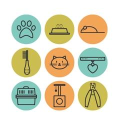 Set of pets flat icons cat symbols for design vector image