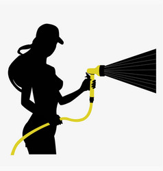 Silhouette of a girl with a hose vector