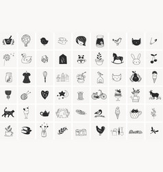 simple hand drawn elements and doodles vector image vector image