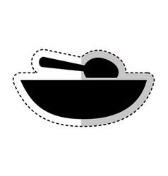 soup dish with spoon vector image
