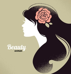 Vintage beautiful girl silhouette vector image vector image