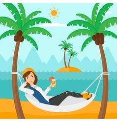 Woman chilling in hammock vector