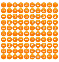 100 transportation icons set orange vector