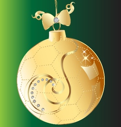 Christmas ball gold bow and swirl ornmament vector image