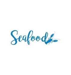 Seafood lettering design isolated on white vector