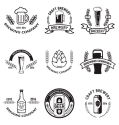 Set of beer labels in line style Design elements vector image