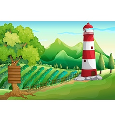 Scene with lighthouse and farmyard vector