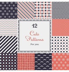 12 Cute different seamless patterns vector image vector image