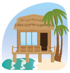 beach bungalow hotel vector image
