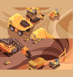 Opencast workings banners collection vector