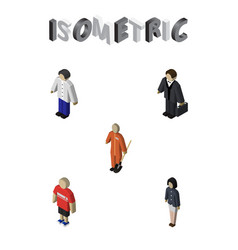 Isometric person set of guy male investor and vector