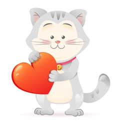 Cute toy Cat pet isolated holding heart vector image