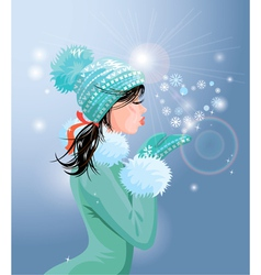 Beautiful brunette girl with warm blue winter hat vector