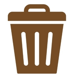 Trash can flat brown color icon vector