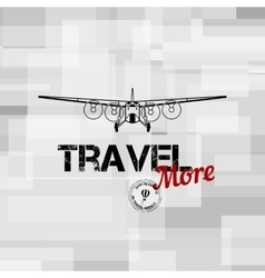 Flying plane with travel text typographic vector