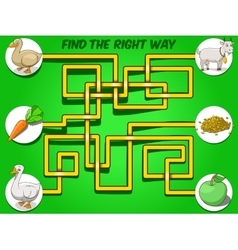 Game labyrinth find a way animals to food vector