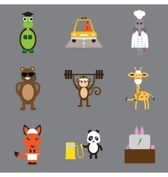 Concept flat icons on gray background animals vector