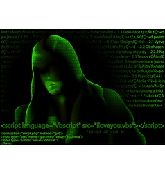 Hacker and computer codes vector